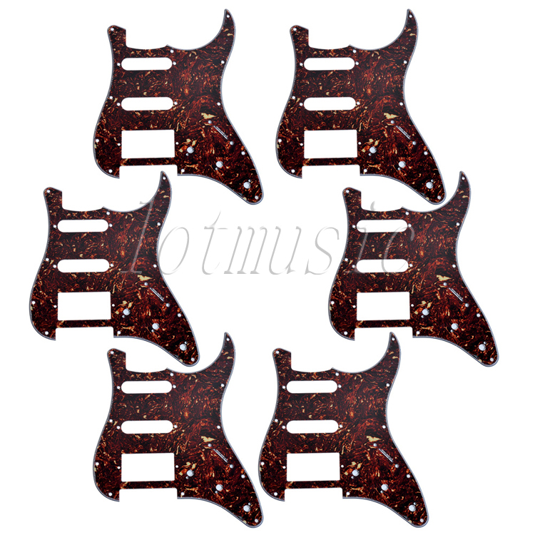 6pcs Dark Brown Tortoise Shell SSH 3-ply 11 hole Strat Guitar Pickguard Replacement(China (Mainland))