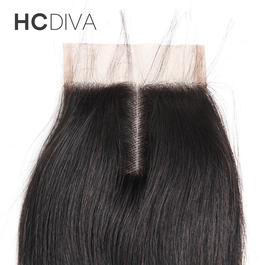 HCDIVA Malaysian Lace Closure Straight Weave Middle Part Size (4*4) 100% Human NonRemy Closure Natural Black Can Dye or Bleache