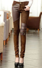 Women' PU Leather Patchwork Jeans Pants Fashion Zippers Boots Trousers Pencil Pants Plus Size PT-023 Brown Black(China (Mainland))