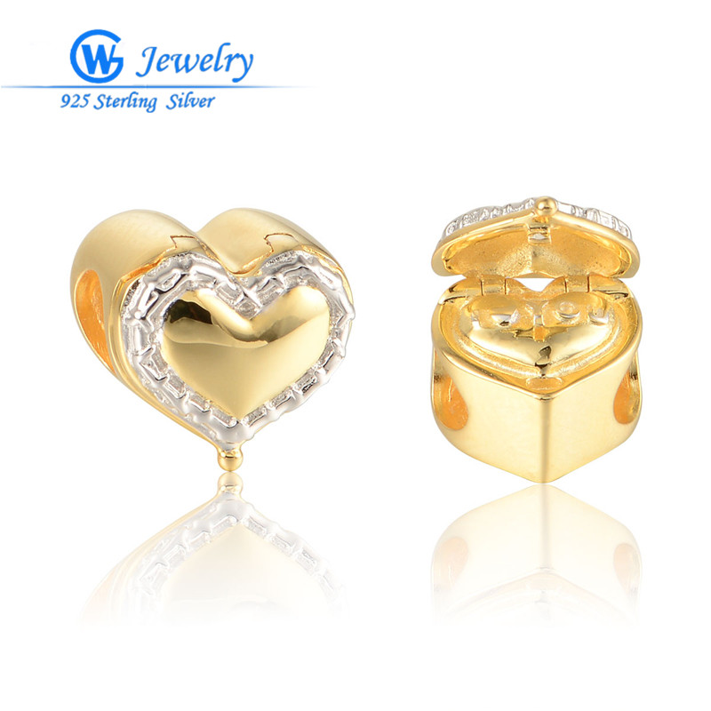 Buy gold love heart box charms 925 for Big box jewelry stores