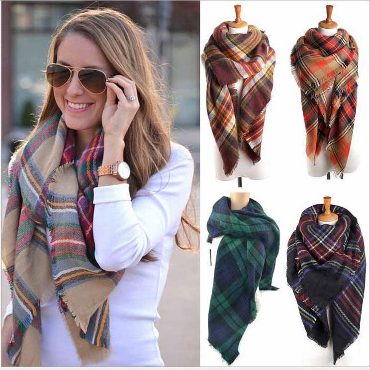 Scarves Wraps 140*140cm 2016 autumn winter fashion warm cashmere scarves ladies shawl new colorful plaid scarf free shipping(China (Mainland))