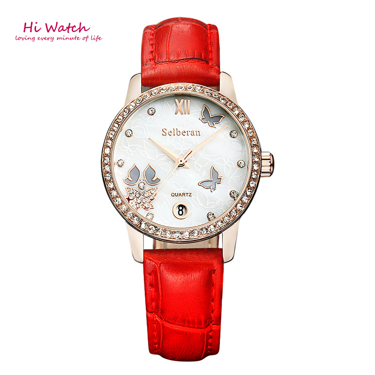 2016 Red 6 Colors Ladies Wrist Watch Women Genuine Leather Watch Womens Casual Watches Luxury Valentines Day Gifts for Women <br><br>Aliexpress