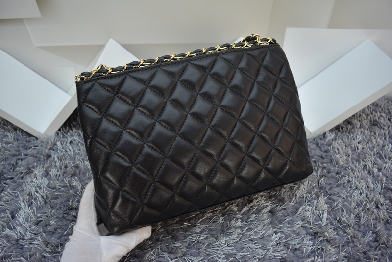 Double CC Brand Lambskin Leahter Gold Quilted Chain Jumbo Shopping Tote Classic W30cm Maxi Zipper Genuine Leather Handbag 64826(China (Mainland))