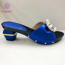 Cor do ouro Simples design Nigéria grandes chinelos antiderrapante sapato com saco conjunto em Italiano Sapatos combinando conjunto de saco popular em áfrica(China)