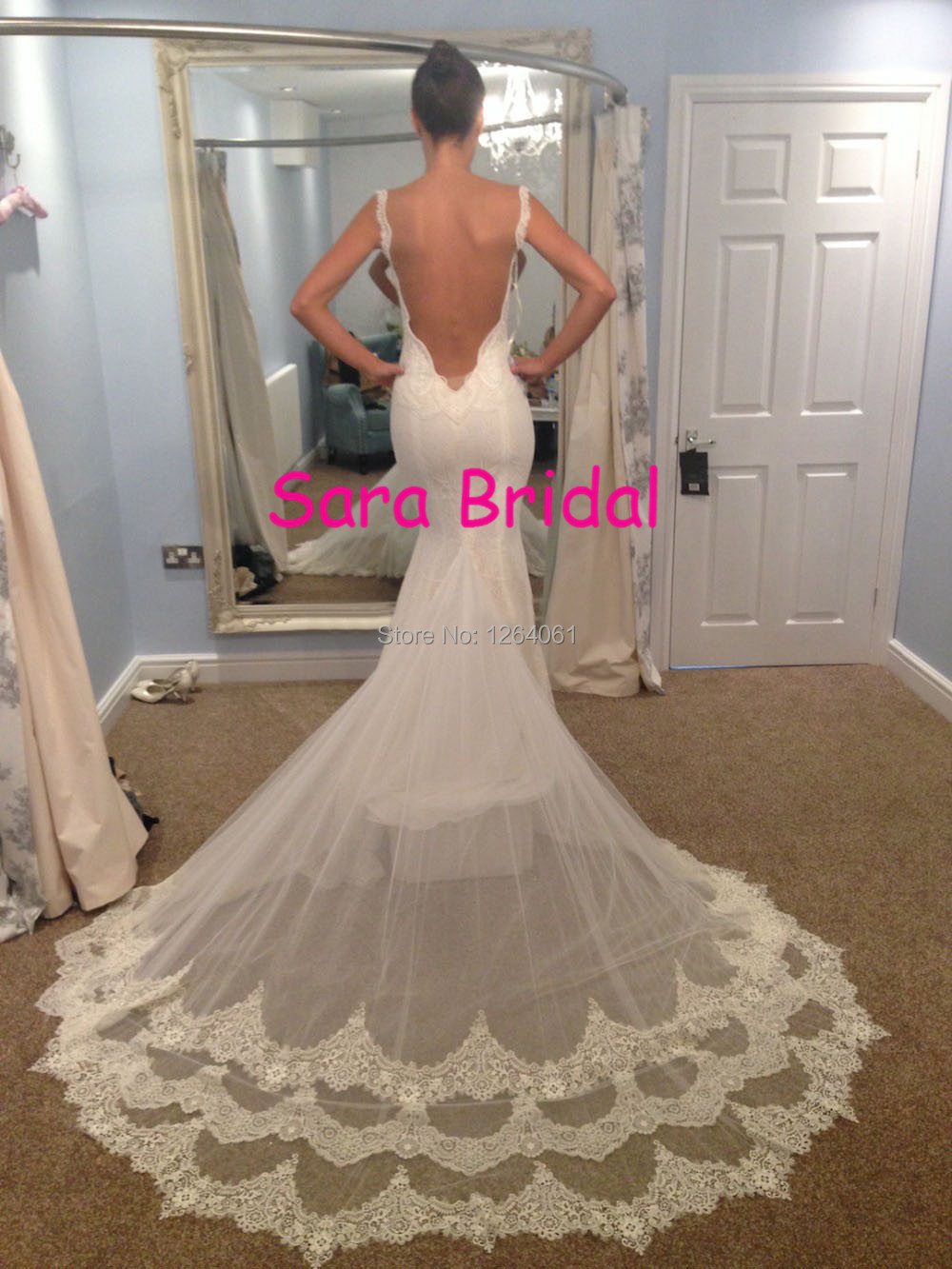Vintage romantic mermaid sweetheart spaghetti backless for Mermaid wedding dress with long train