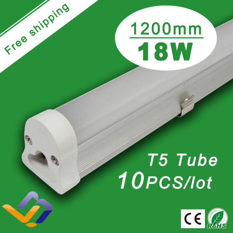 Free Shipping 10pcs/lot Top quality 1.2m T5 led tube ,High light smd led light/T5 18w fluorescent tubes SMD 2835,AC85-265V(China (Mainland))