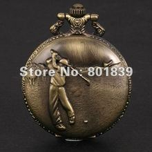 20PCS A LOT Vintage Style Bronze Golfer Boys Hit Golf Ball Pocket Watch With Chain Nice Gift Wholesale Price H149(China (Mainland))
