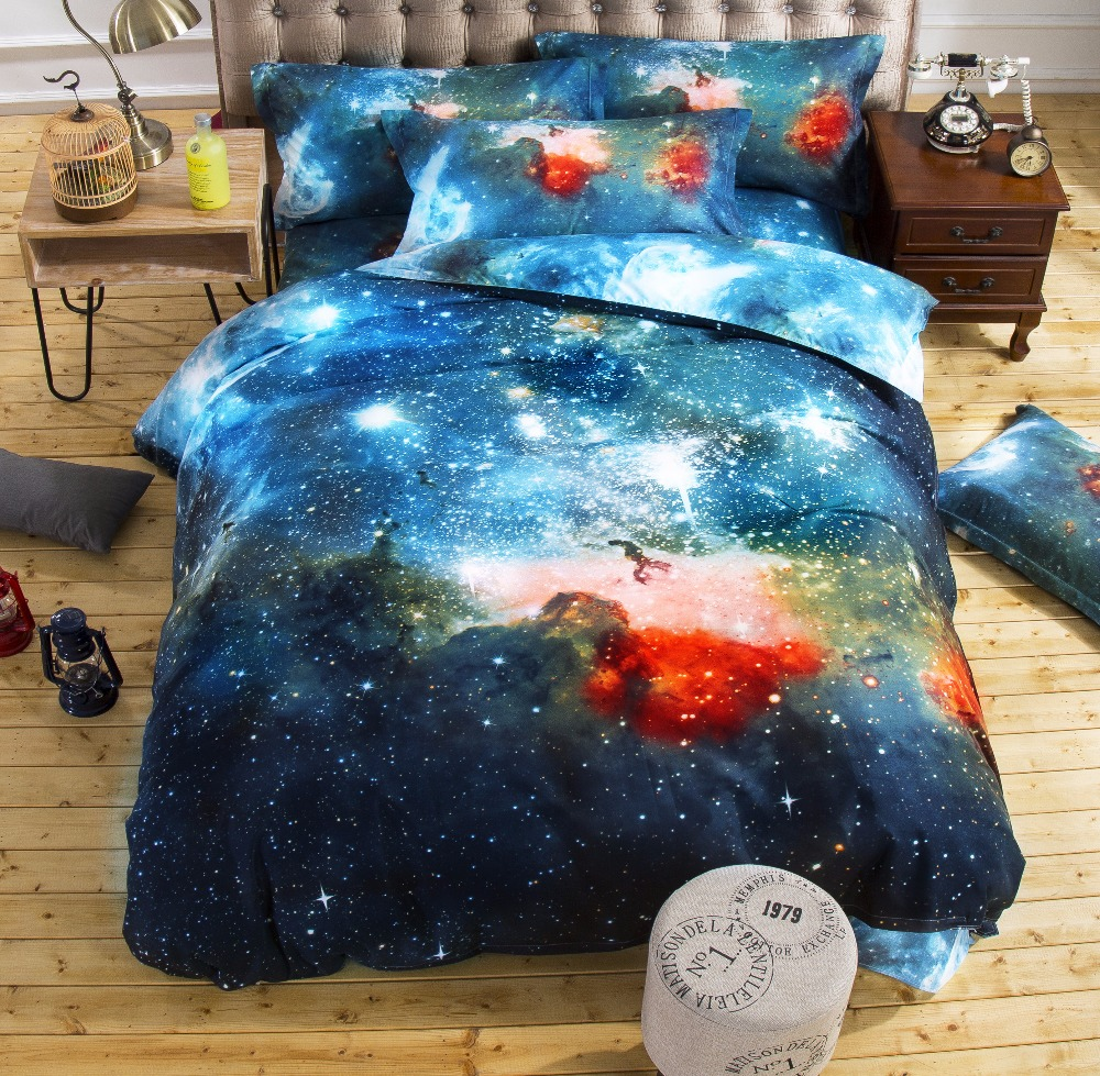 3d Galaxy bedding sets Twin/Queen Size Universe Outer Space Themed Bedspread 2pcs/3pcs/4pcs Bed Linen Bed Sheets Duvet Cover Set(China (Mainland))