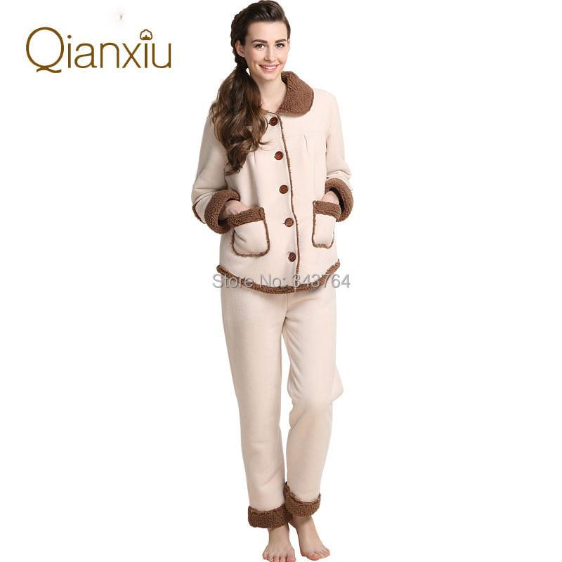 Qianxiu Brand Pajamas Winter Thicken Fleece Sleepwear Women and Men Pajama Set Free Shipping(China (Mainland))
