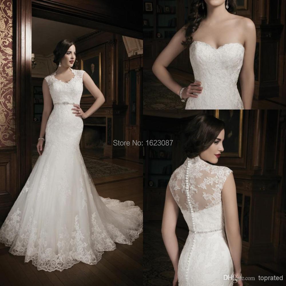 Custom Made Noble Beaded Fashionable Romantic Saree V-Neck Robe De Mariage White Long Vintage Mermaid Wedding Dress 2015(China (Mainland))