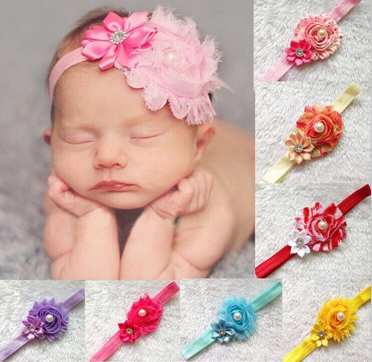 baby girls years 0-3 elastic headbands kids chiffon flower hair decoration head wear 27 color - Warmly Family store