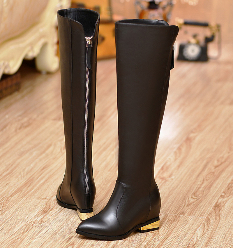Здесь можно купить   Pointed Toe Knee-High boots for women Autumn winter boots fashion Height Increasing 6cm Grain Leather boots After Zipper  Обувь