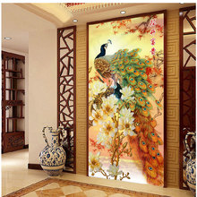 [Super deals]120*65cm Needlework,DIY Cross stitch,Embroidery kit,Gold Fortune peace bird print pattern peacock CrossStitch decor(China (Mainland))