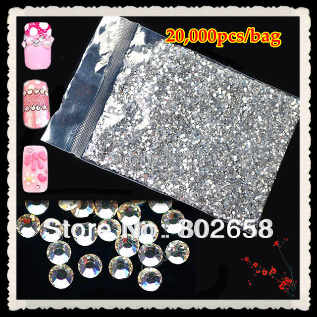 (20,000pcs/Lot) 2.0mm or 1.5mm  for you choose Glitter Clear Acrylic Hot Fix Nail Art  Rhinestone For Nail Decoration