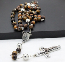 fashion new tiger eye semi-pricious stainless steel cross rosary necklaces men and women jewelry top quality free shipping(China (Mainland))