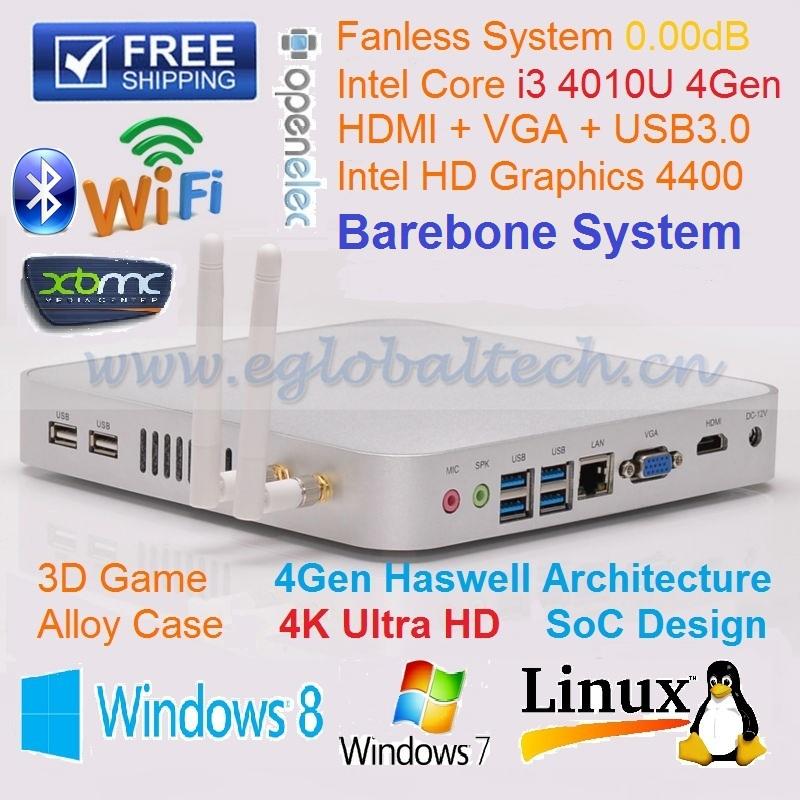 3years Warranty Barebone Mini PC Intel NUC I3 4010U Fanless Barebone PC HTPC Thin Client Network Computer Thin Client PC Games(China (Mainland))