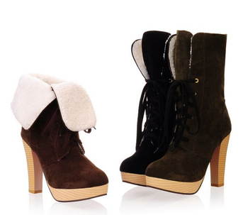 2014 New Style sexy high quality suede ankle boots women shoes winter high heel boots woman THSJKL- 659