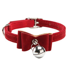 New Release Dot & Cat Collar Kitten Velvet Bow Tie Safety Elastic Free Post 6 Colours Bowtie With Bell For Pet(China (Mainland))