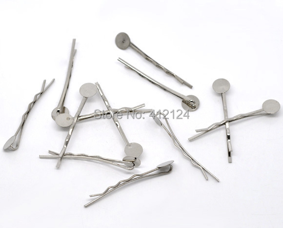 2500 Free Shipping Wholesales Hot New DIY Silver Tone Bobby Pins Hair Clips with Glue Pad Jewelry Findings Component 4.4cm(China (Mainland))