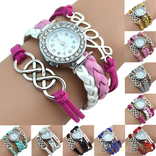 Vintage Eight Love Charm Leather Band Bracelet WristWatches 2016 New Design 9 colors - Eternal Esther Store store