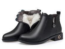 AIYUQI Kadın botları inek derisi deri kar botları yün sıcak kış çizmeler büyük boy 41 42 43 yüksek topuklu ayakkabılar kadın(China)