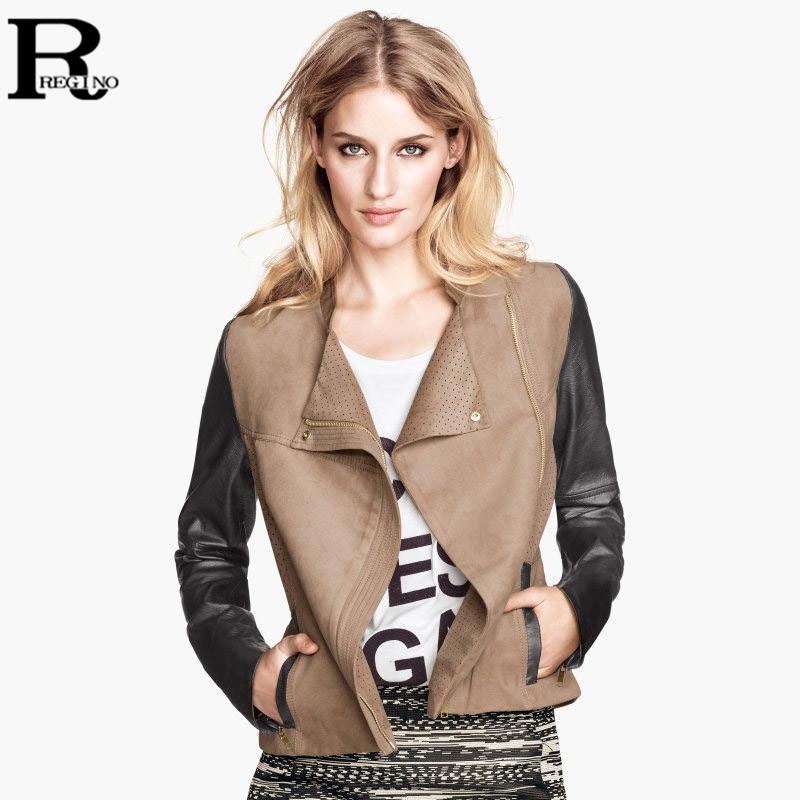 Regino 2015 Spring Desigual Fashion High Street Vintage Khaki Black PU Leather Block Long Sleeve Laple Biker Outwear Jacket(China (Mainland))