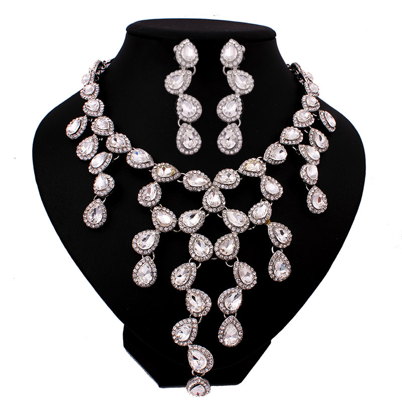 Fashion Women Pendant Necklace RING Set 18K Gold Plated African Beads Jewelry Set Party Wedding Dubai Jewelry Sets NC030