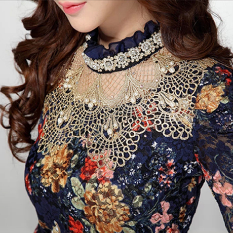 NEW 2014 Women Floral Lace fashion casual girl blouse Diamond beaded lace shirt women clothes 3115(China (Mainland))