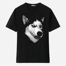 2015 Hot New Arrival Summer Men Fashion Husky Libersoul T-shirt Short-sleeve Dog t-shirt Male Stereo Pattern Black Sport T Shirt