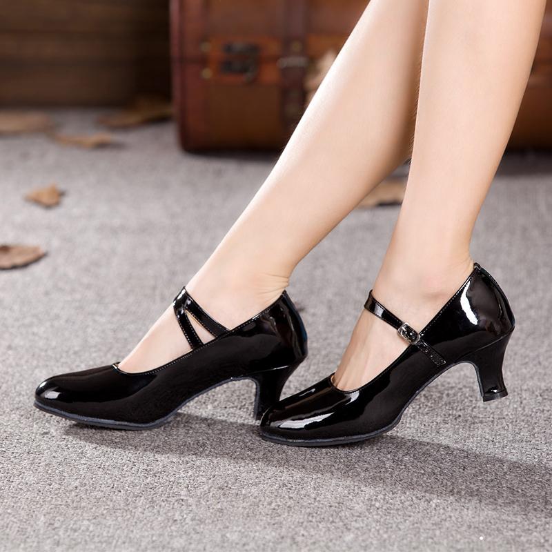 Women Ladies Ballroom Latin Dance Shoes PU Indoor Suede Sole Tango Salsa Dancing Shoes Heeled 3.5cm/5.5cm/7cm All Size EU 34-43(China (Mainland))