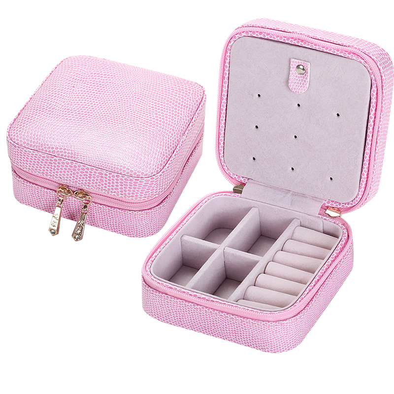 Fashion Women's Gift Mini Jewelry Box Travel Makeup Organizer Faux Leather Casket with Velvet Mirror and Zipper(China (Mainland))