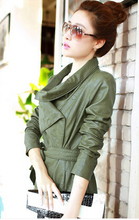 Leather Jacket Women's fashion coat female New 2016 Autumn and winter PU jaqueta de couro Plus size leather jackets for women YG(China (Mainland))