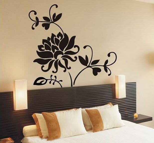 Black Flower Vine Kids Vinyl Wall Sticker For Kids Rooms Home Decor