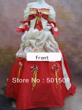 luxury rhinestone sequined red Medieval Renaissance ball gown vintage dress court Victorian Gothic Lol/ Antoinette dress