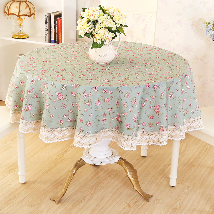 Good Quality Hotel Round Shape Table Cloth European Pastoral Style Restaurant Tablecloth Cloth Polyester Table Cover Blue WZ(China (Mainland))