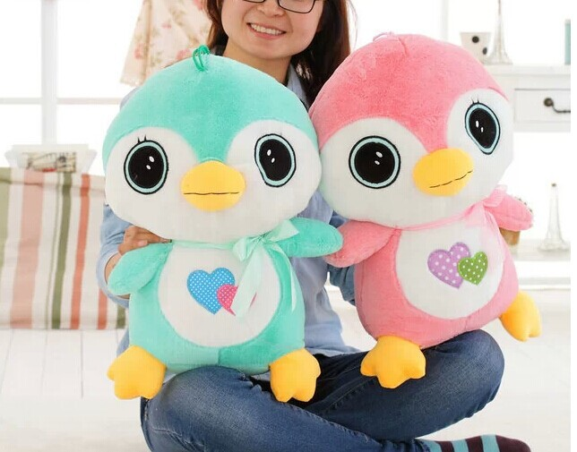 a pair of Lovely penguin toys big green and pink penguin dolls gift about 50cm<br><br>Aliexpress
