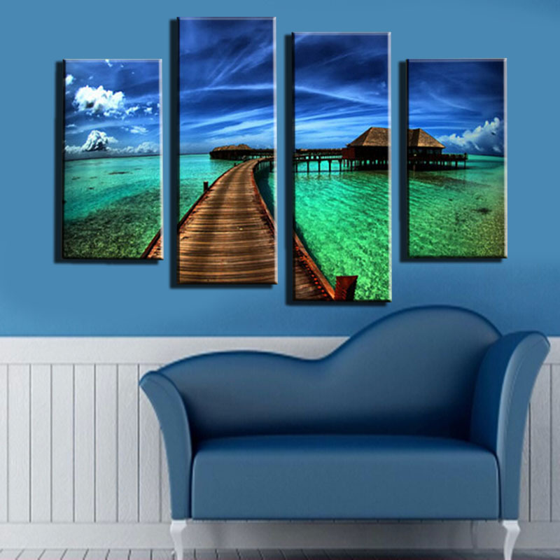 Unframed 4 Pieces Blue Sky And Green Grass Landscape HD Art Printed Picture Modern Home Decor For Wall Art Painting(China (Mainland))