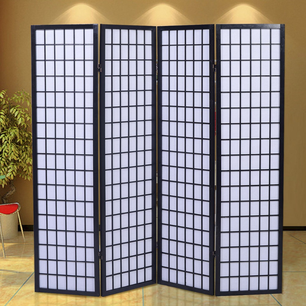4 panel room divider screen japanese oriental style solid for Four panel room divider screen