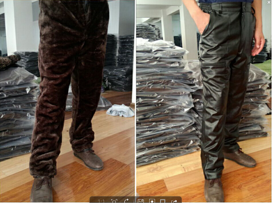 XL-5XL Plus size Winter new casual brand middle-aged mens leather pants motorcycle leather pants plus thick velvet warm trousers(China (Mainland))
