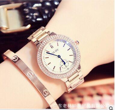 HK GUOU 8141 Brand Fashion Blue font b Watch b font Rose gold Steel Band font