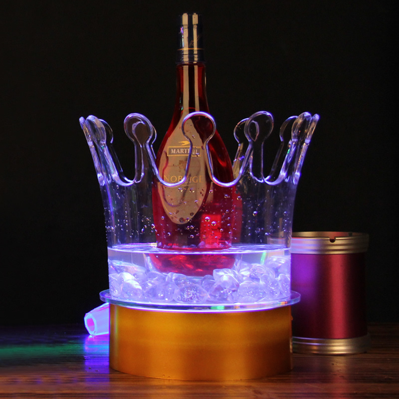 2016 New Arrival Real Ice Buckets & Tongs Whiskey Stones Wine Rack Colorful Circular Led Wine Bar Ice Bucket Acrylic Crown(China (Mainland))
