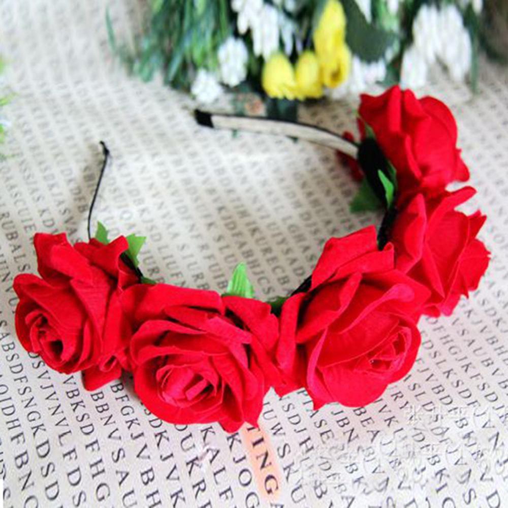 1*Rose Floral Flower Garland Crown Headband Hair Band Bridal Festival Clip Holiday Hot(China (Mainland))