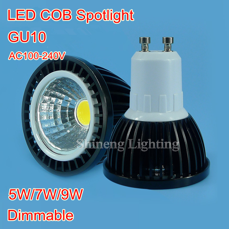 Super Bright GU10 Bulbs Light Dimmable Led Warm/White 85-265V 5W 7W 9W GU10 COB LED lamp light GU10 led ceiling Spotlight(China (Mainland))
