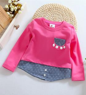 new arrival 2015 korean spring/autumn polka dot children t shirts all for children clothing and accessories pocket kids t-shirt(China (Mainland))