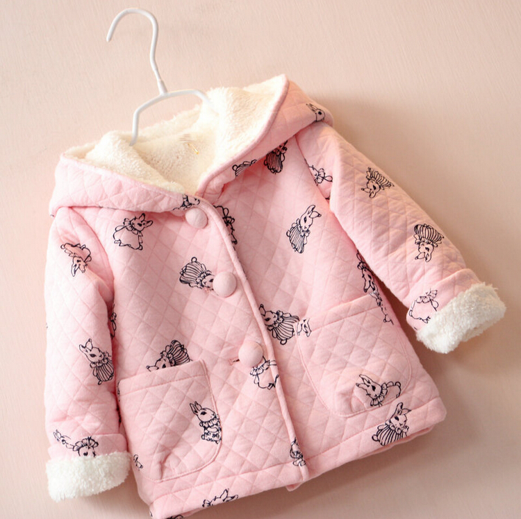 2016 autumn winter children cartoon rabbit pink clothing baby girls jacket coats thick cute hooded jacket kids outerwear(China (Mainland))