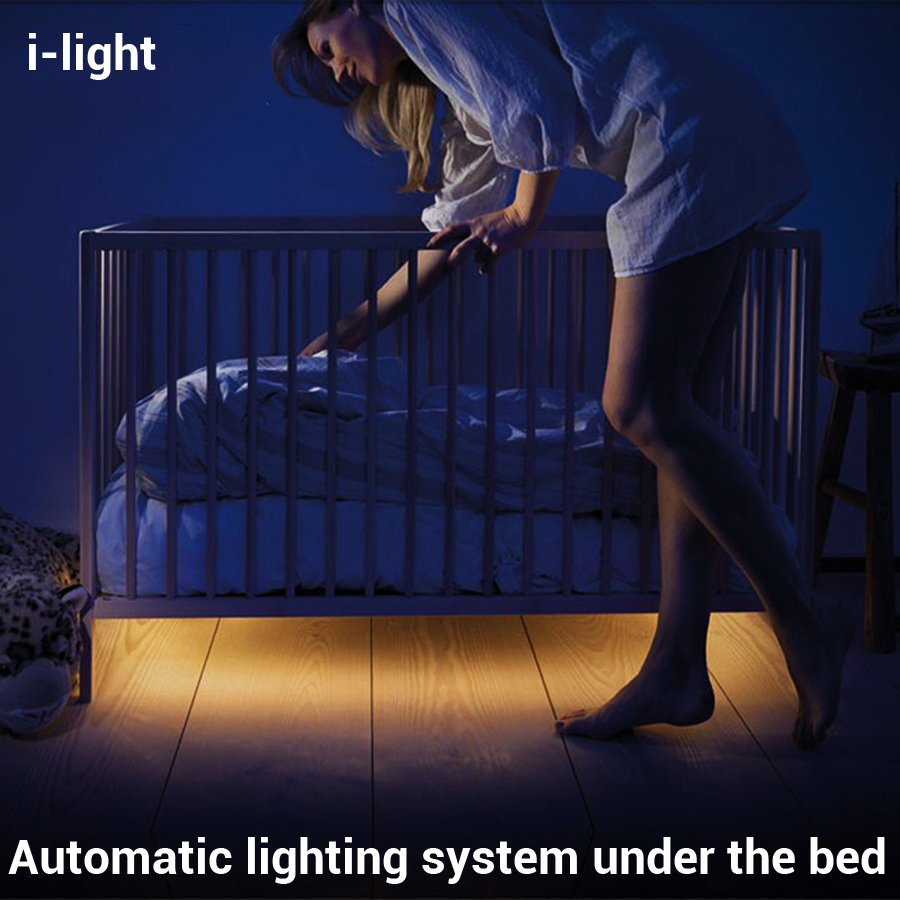 i-light Modern High Technology Intelligent Motion Sensing LED Bed Lights Bedroom Baby bed Lamp Hotel Wardrobe Night light 2016(China (Mainland))