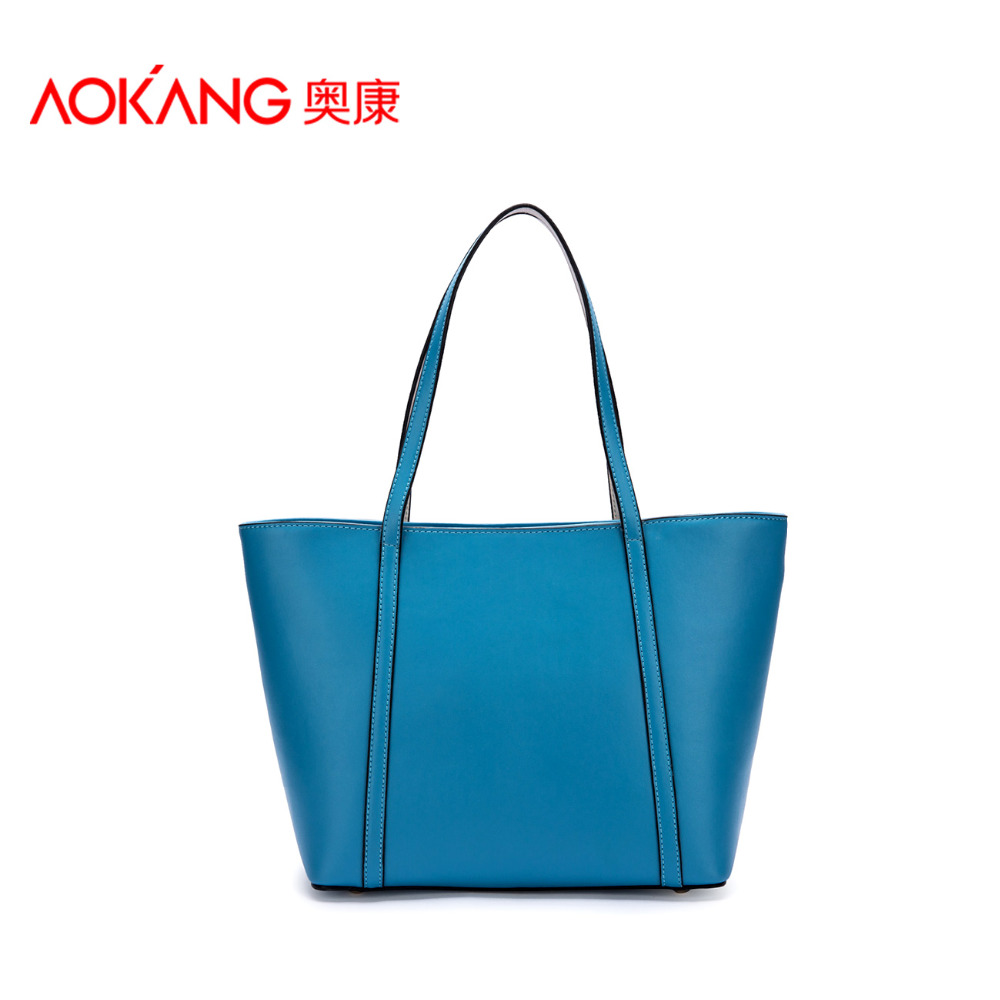 Aokang 2015 New Arrivals Genuine Leather Casual Tote Big Shopping Bag Fashion Candy Colors Large Women Laptop Bags For Women(China (Mainland))