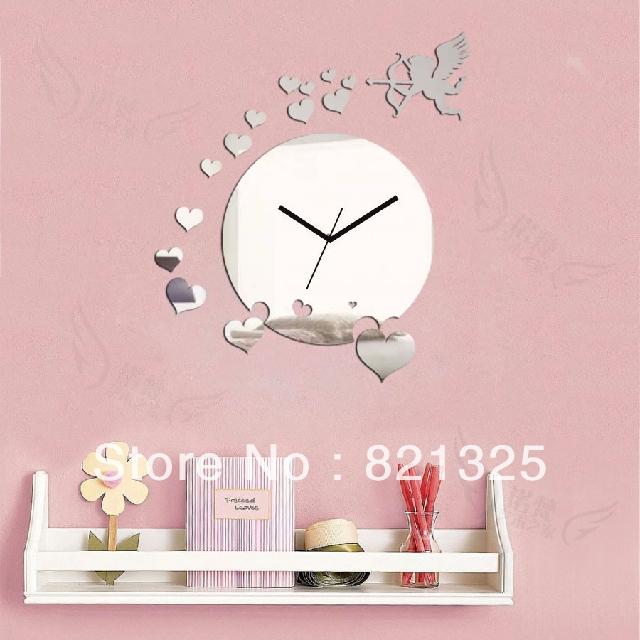 Big Clock Home Decora Wall DIY Crystal Mirror Fashion Clocks Children's Silent Art Unique Gift!!