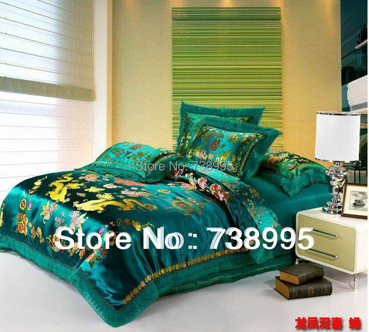 Здесь можно купить  bedding set wedding silk stain embroidery warm bedding luxury winter Chinese style 4pc/set Queen/king size duvet cover free ship  Дом и Сад