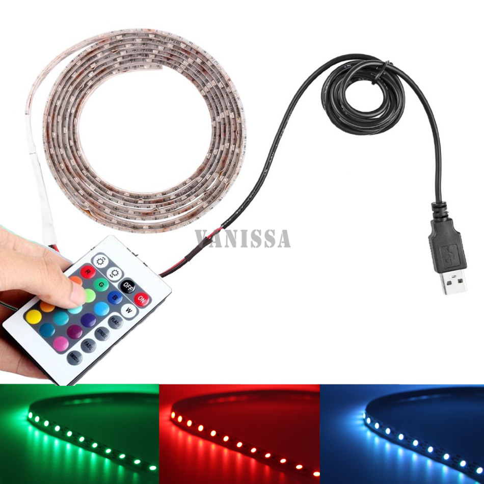 DC 5V RGB LED strip USB Colour Changing waterproof TV PC PS4 Background light RGB 5050 SMD Tape lamp + remote control USB Cable(China (Mainland))
